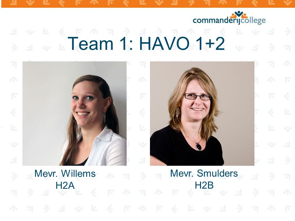 Team 1: HAVO 1+2 Mevr. Willems H2A Mevr. Smulders H2B