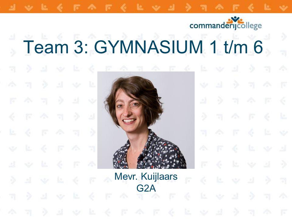 Team 3: GYMNASIUM 1 t/m 6 Mevr. Kuijlaars G2A