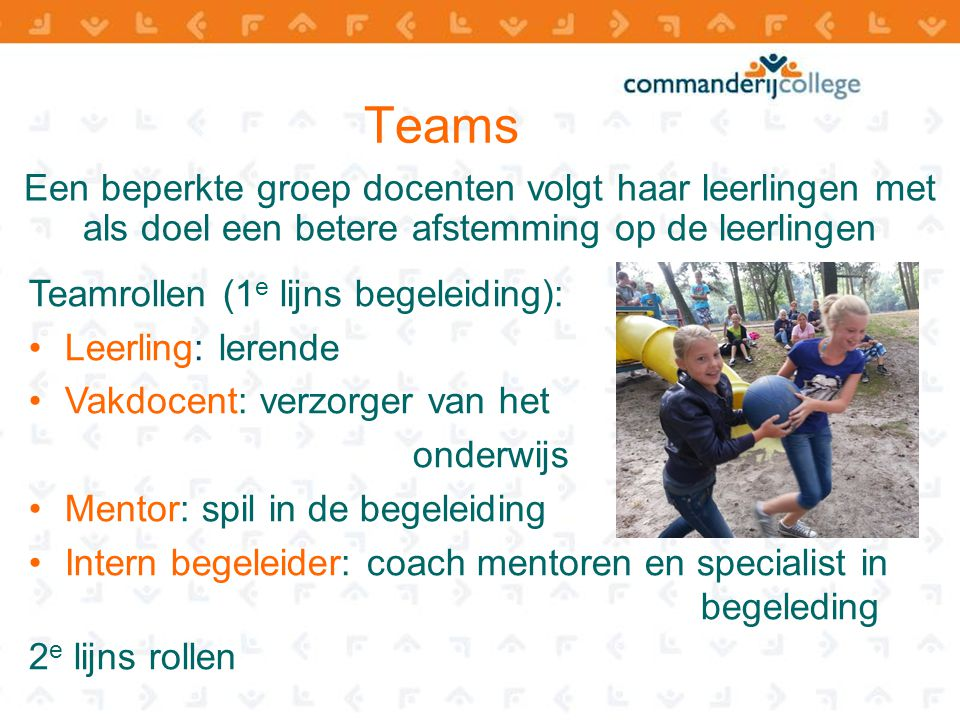 Teams Een beperkte groep docenten volgt haar leerlingen met als doel een betere afstemming op de leerlingen.