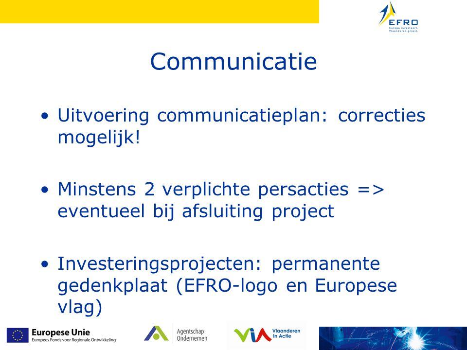 Communicatie Uitvoering communicatieplan: correcties mogelijk!