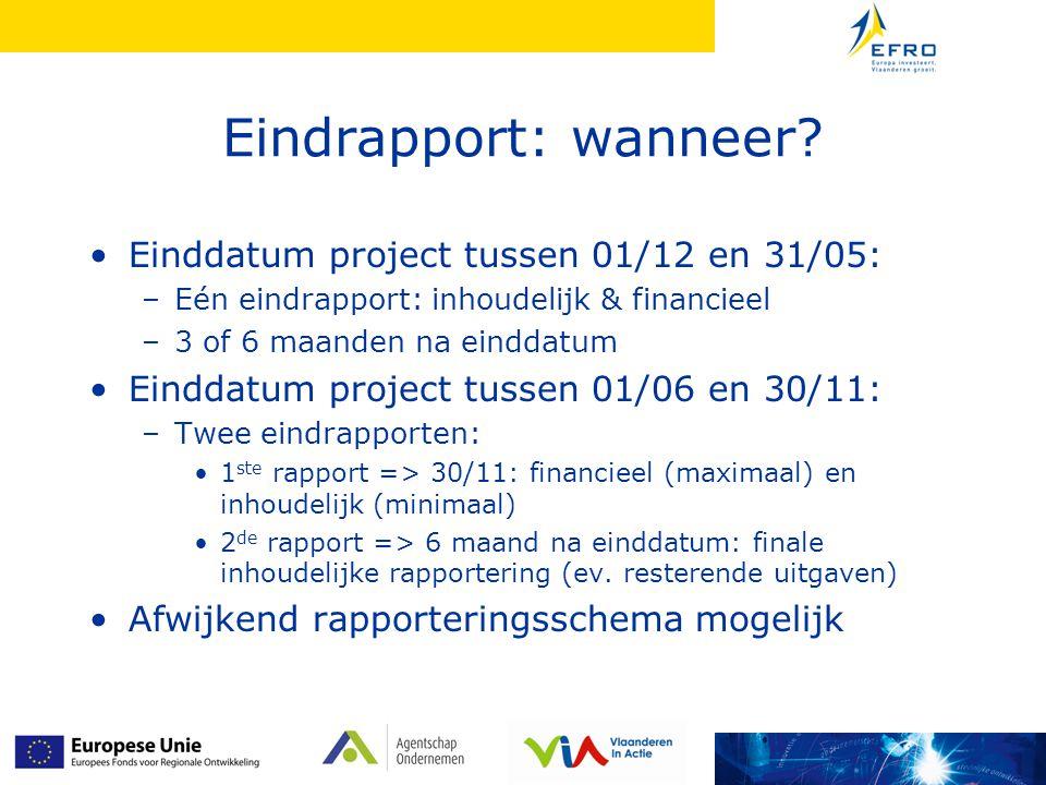 Eindrapport: wanneer Einddatum project tussen 01/12 en 31/05: