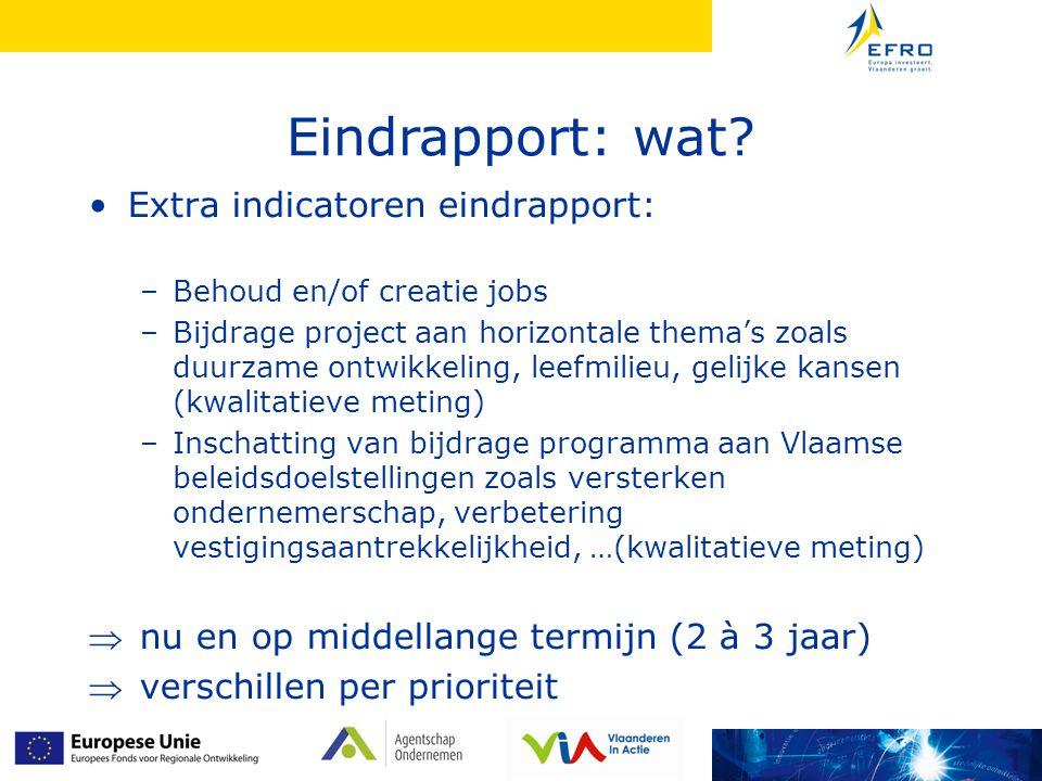Eindrapport: wat Extra indicatoren eindrapport: