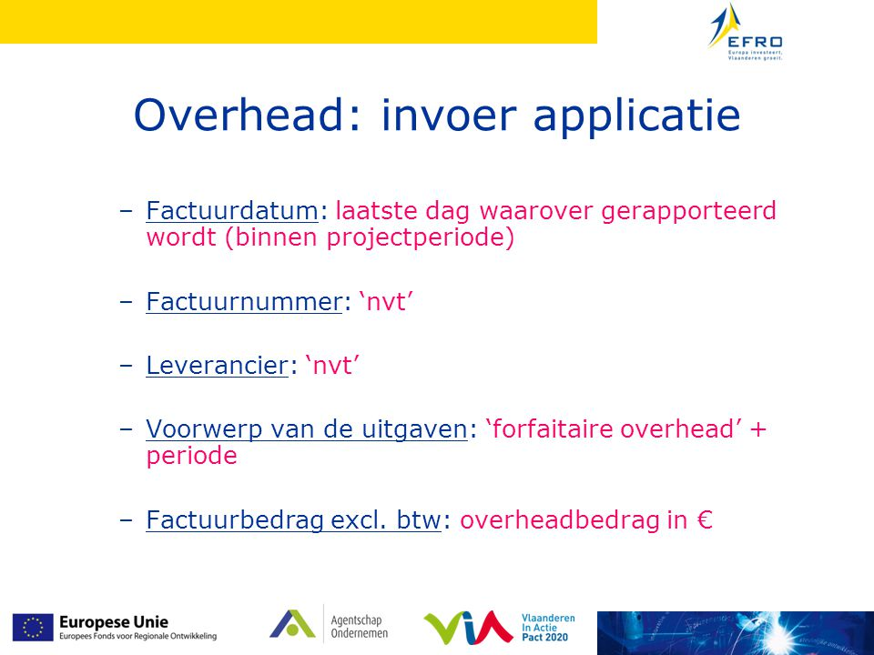 Overhead: invoer applicatie