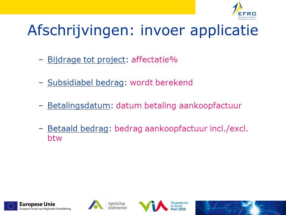 Afschrijvingen: invoer applicatie