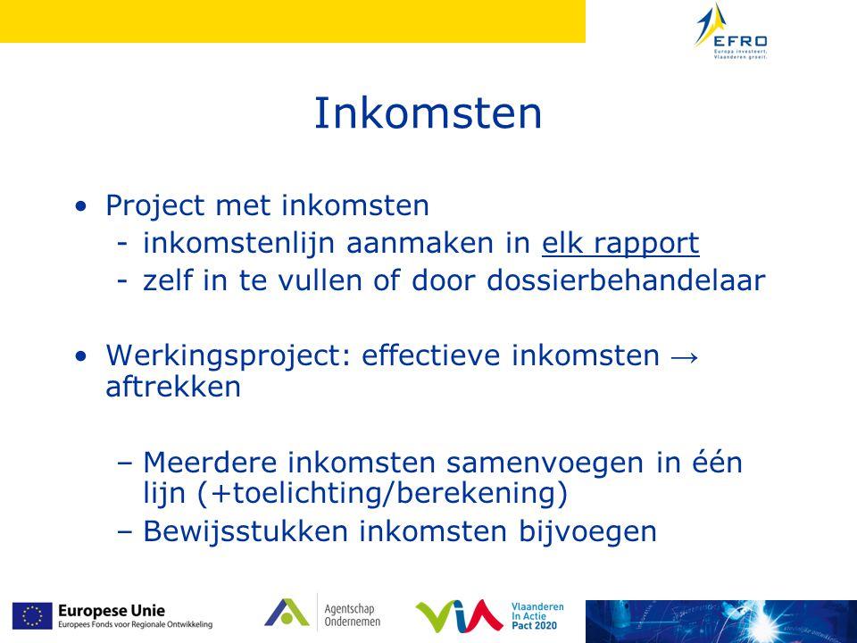 Inkomsten Project met inkomsten inkomstenlijn aanmaken in elk rapport