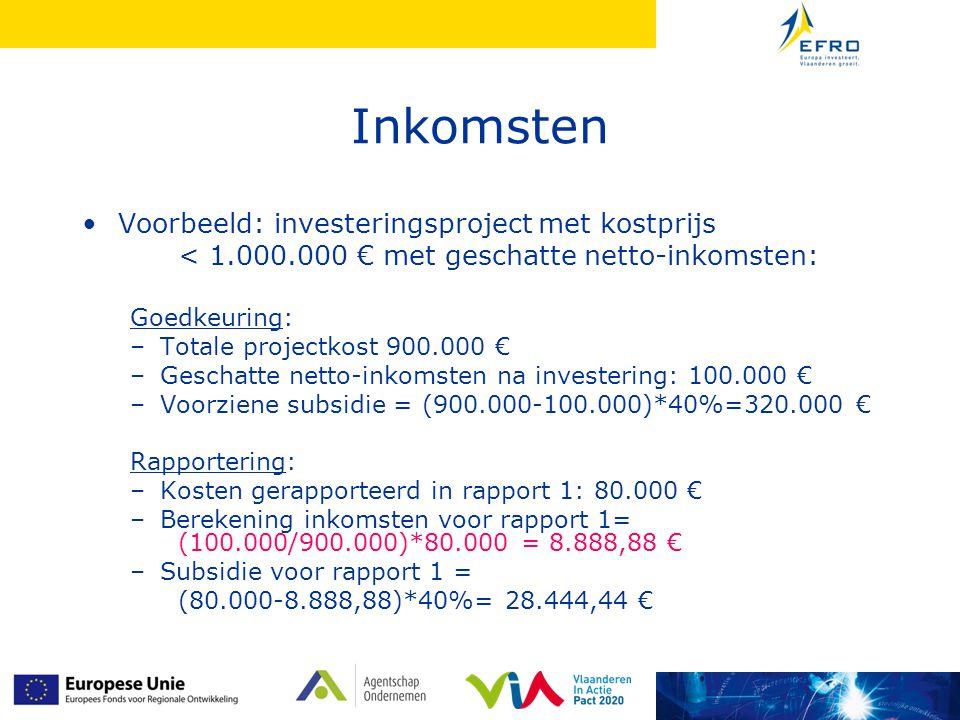 Inkomsten Voorbeeld: investeringsproject met kostprijs