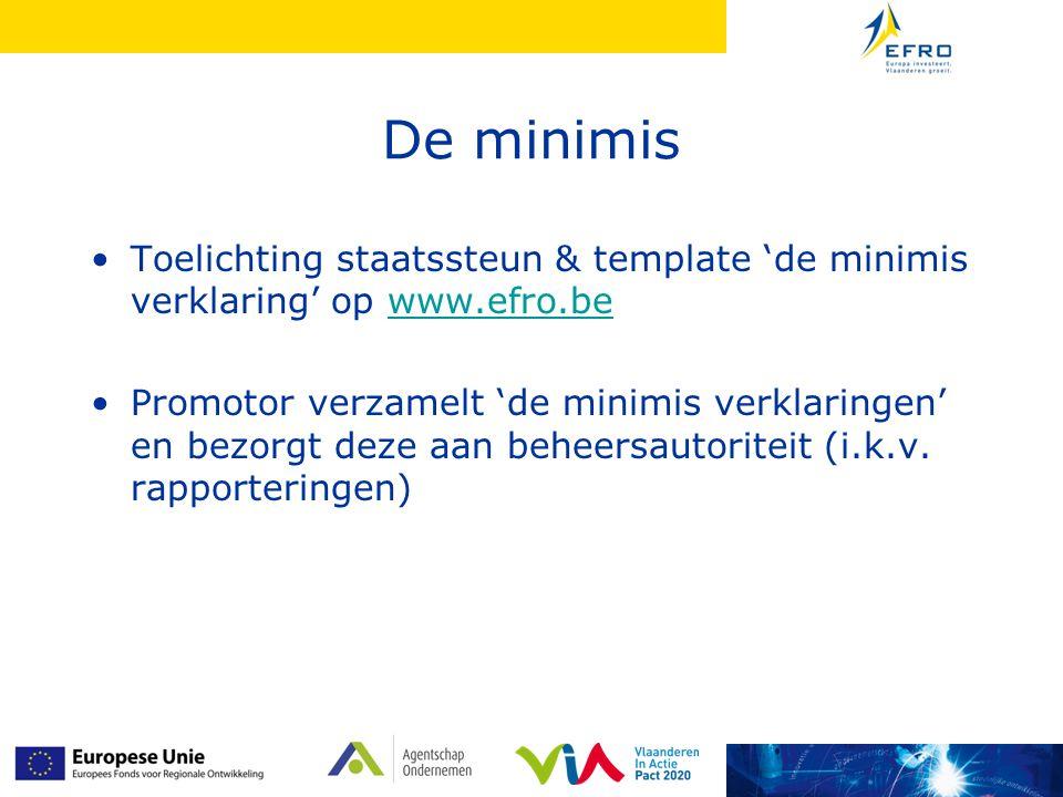 De minimis Toelichting staatssteun & template 'de minimis verklaring' op www.efro.be.