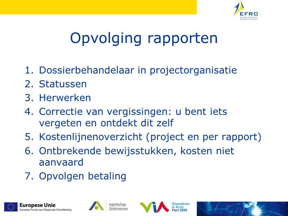 Opvolging rapporten Dossierbehandelaar in projectorganisatie Statussen