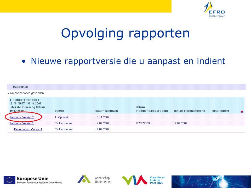 Opvolging rapporten Nieuwe rapportversie die u aanpast en indient