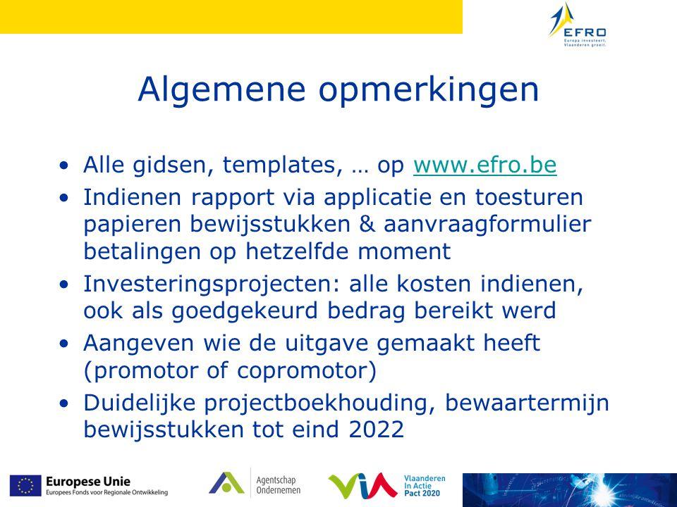 Algemene opmerkingen Alle gidsen, templates, … op www.efro.be