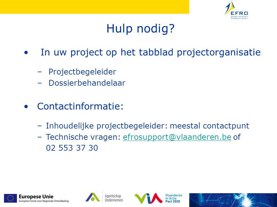 Hulp nodig In uw project op het tabblad projectorganisatie