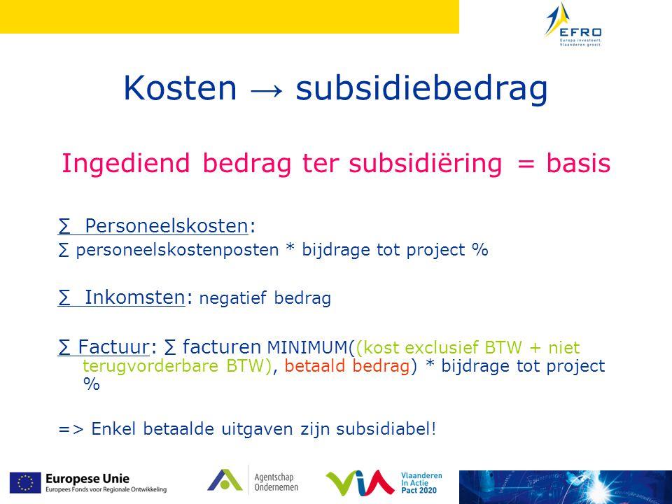 Kosten → subsidiebedrag