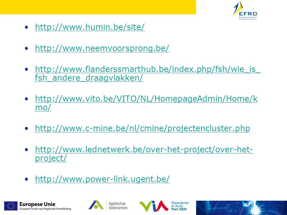 http://www.humin.be/site/ http://www.neemvoorsprong.be/ http://www.flanderssmarthub.be/index.php/fsh/wie_is_fsh_andere_draagvlakken/
