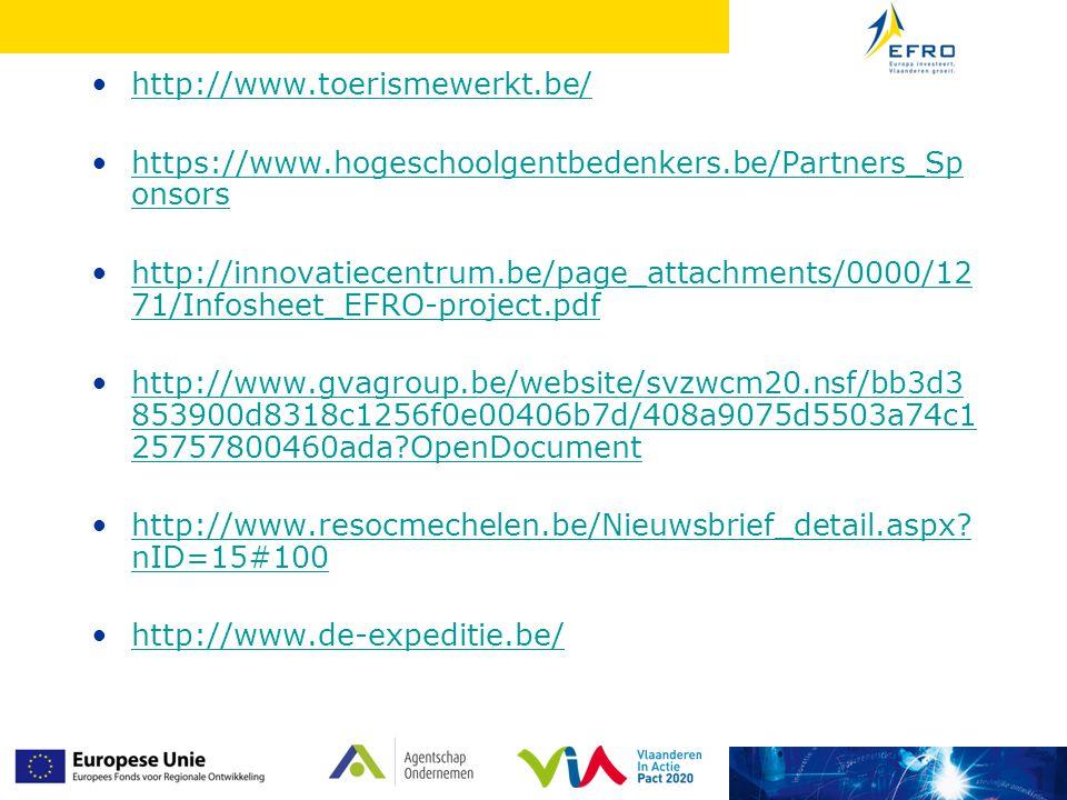 http://www.toerismewerkt.be/ https://www.hogeschoolgentbedenkers.be/Partners_Sponsors.