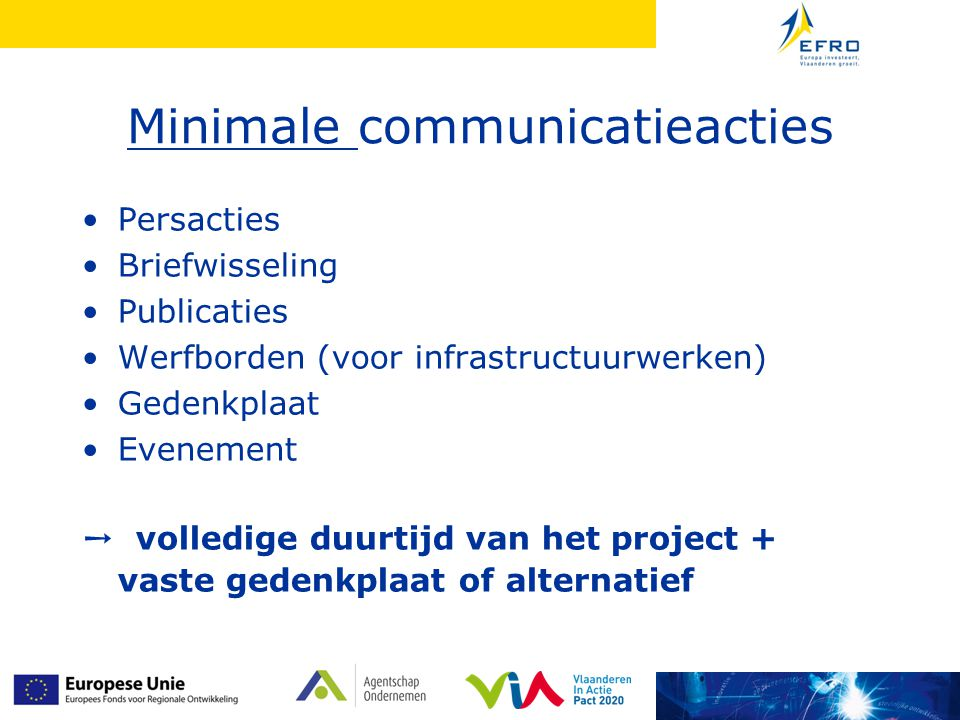 Minimale communicatieacties