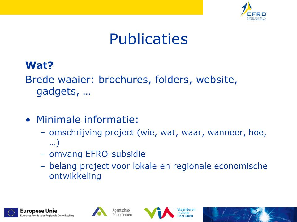 Publicaties Wat Brede waaier: brochures, folders, website, gadgets, …