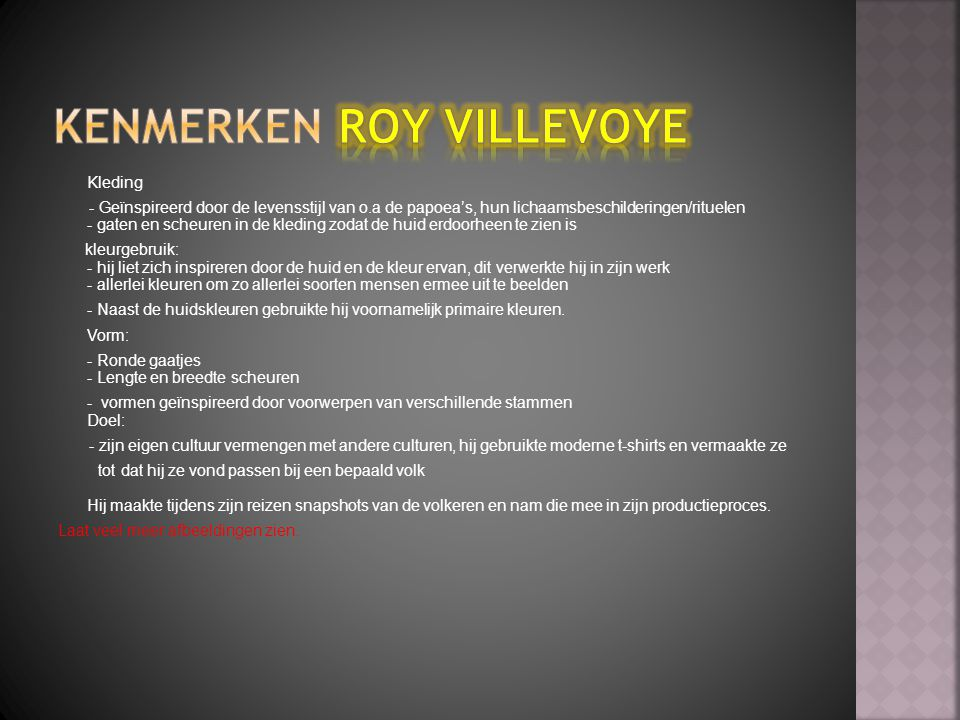 Kenmerken Roy villevoye