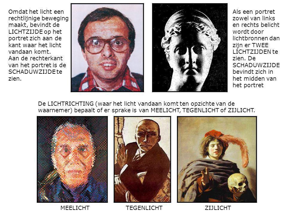 Omdat het licht een rechtlijnige beweging maakt, bevindt de LICHTZIJDE op het portret zich aan de kant waar het licht vandaan komt.