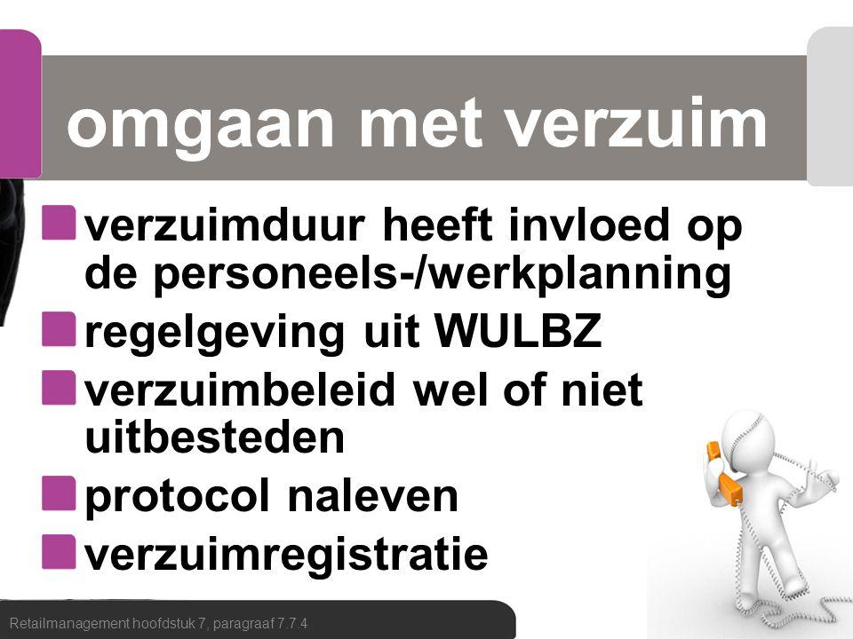 omgaan met verzuim verzuimduur heeft invloed op de personeels-/werkplanning. regelgeving uit WULBZ.