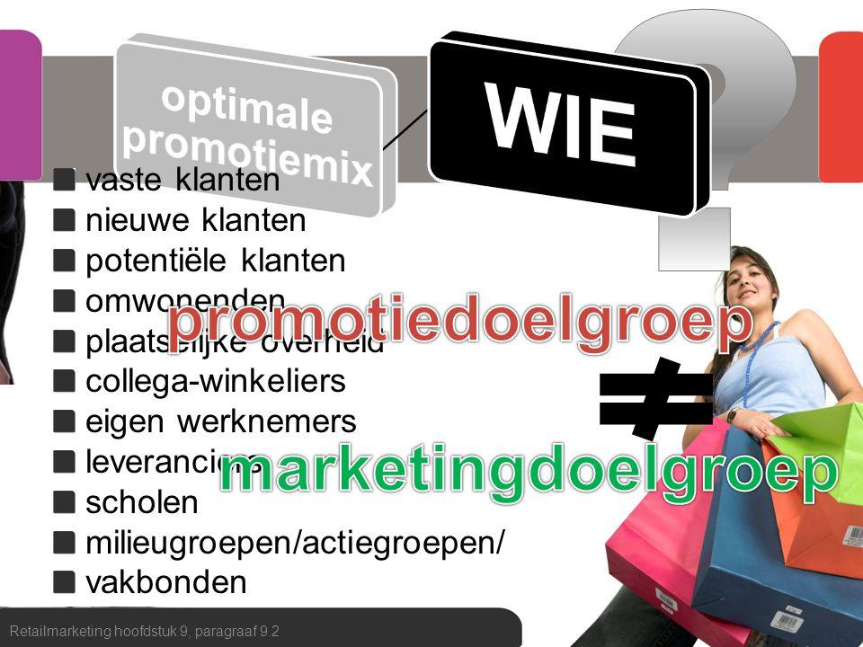 WIE promotiedoelgroep marketingdoelgroep vaste klanten