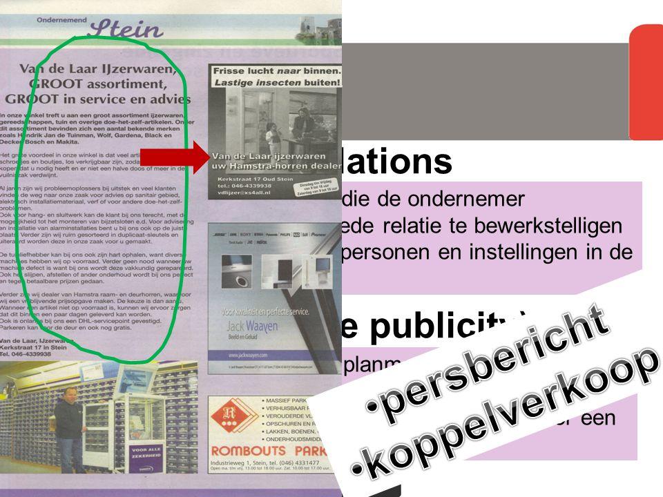 externe pr doelgroep persbericht koppelverkoop community relations