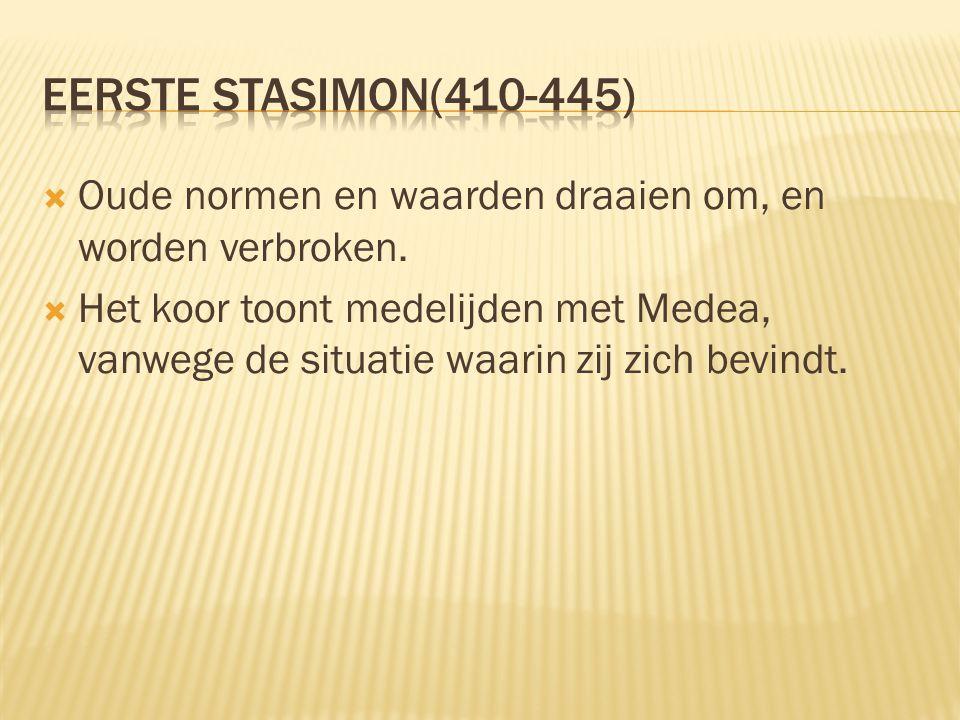 Eerste stasimon(410-445) Oude normen en waarden draaien om, en worden verbroken.