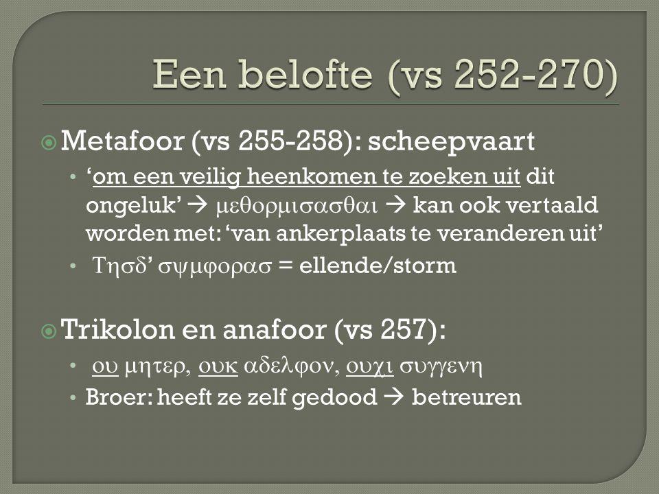 Een belofte (vs 252-270) Metafoor (vs 255-258): scheepvaart