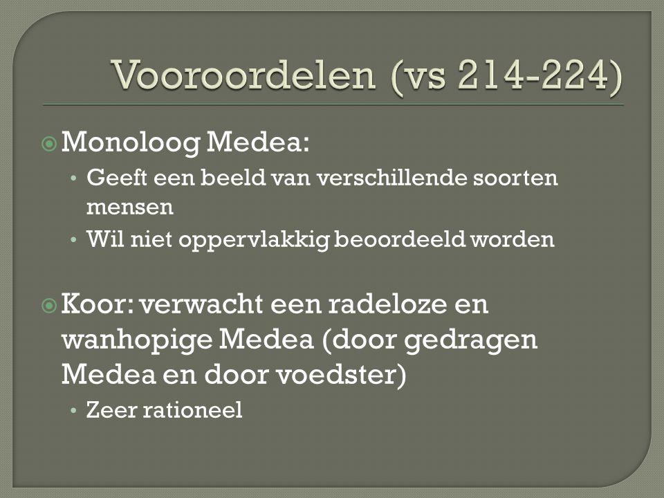 Vooroordelen (vs 214-224) Monoloog Medea: