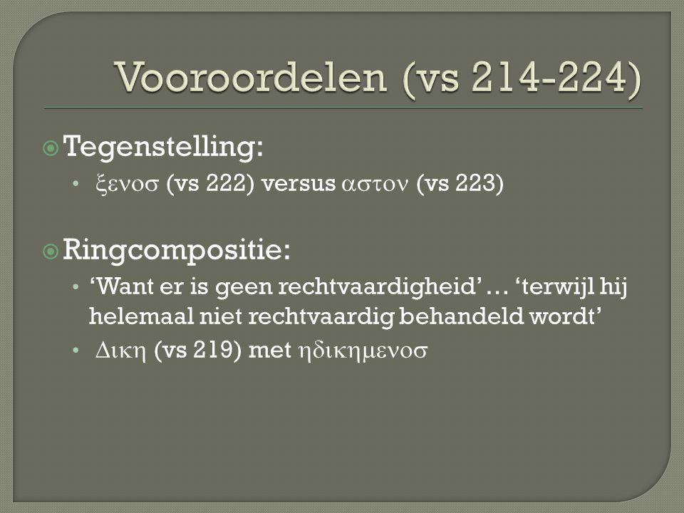 Vooroordelen (vs 214-224) Tegenstelling: Ringcompositie: