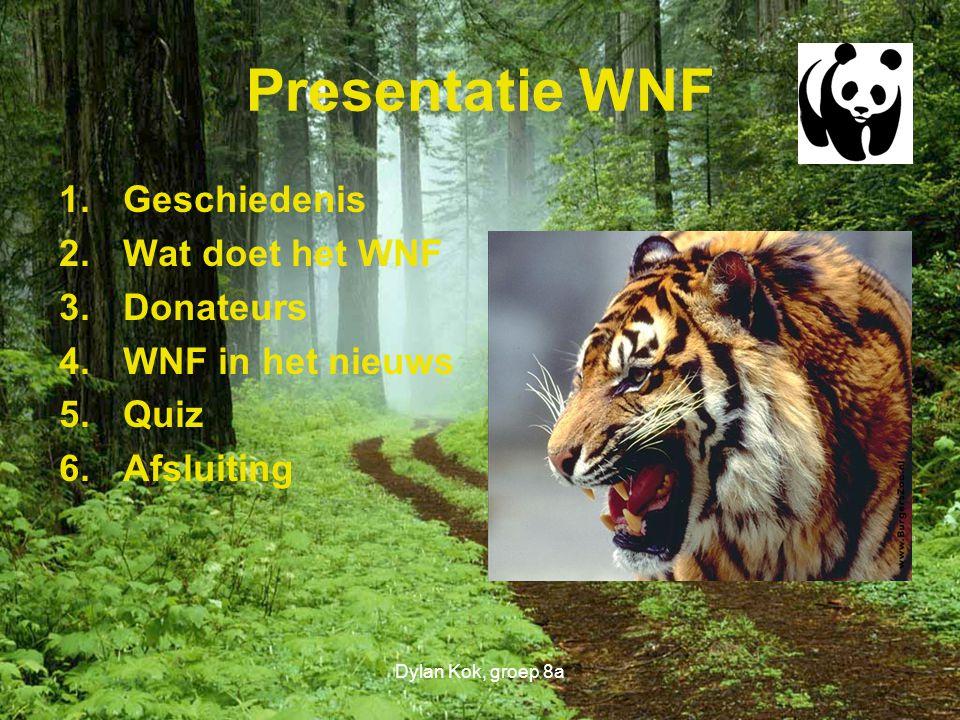 Presentatie WNF Geschiedenis Wat doet het WNF Donateurs