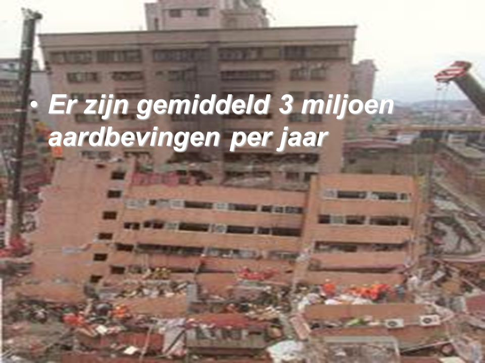 Er zijn gemiddeld 3 miljoen aardbevingen per jaar