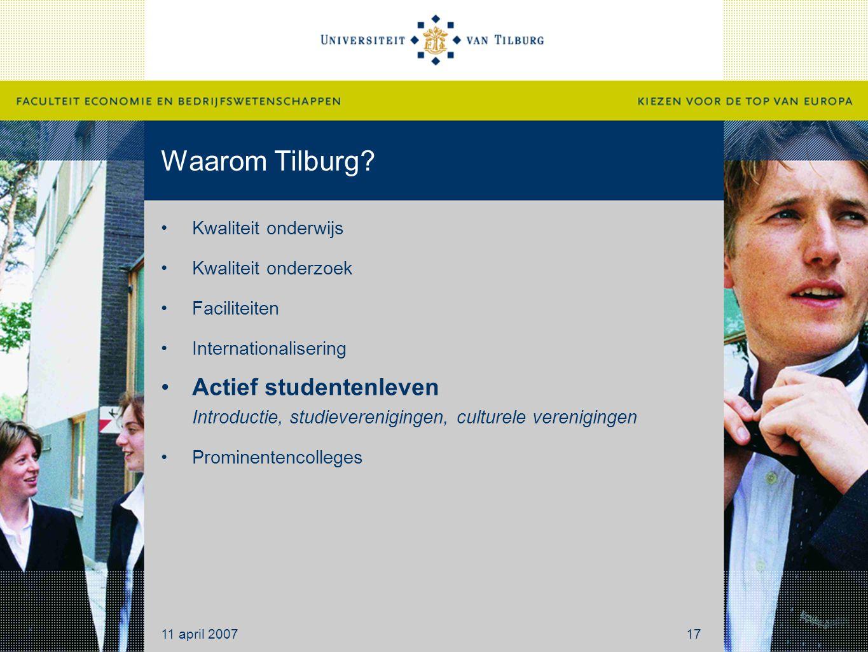 Waarom Tilburg Kwaliteit onderwijs. Kwaliteit onderzoek. Faciliteiten. Internationalisering.