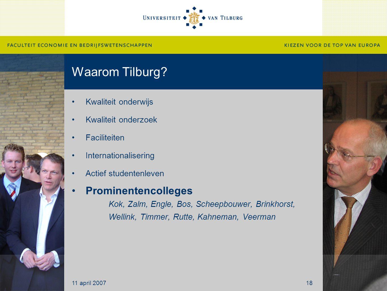 Waarom Tilburg Kwaliteit onderwijs. Kwaliteit onderzoek. Faciliteiten. Internationalisering. Actief studentenleven.