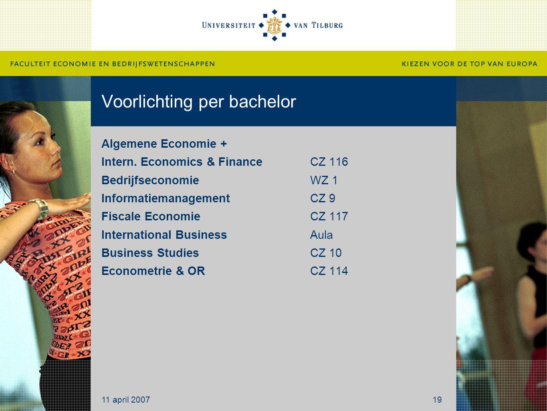 Voorlichting per bachelor