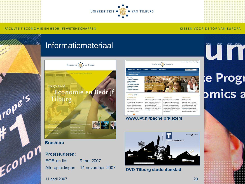 Informatiemateriaal www.uvt.nl/bachelorkiezers Brochure Proefstuderen: