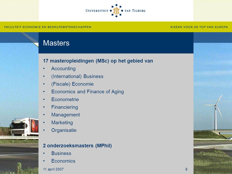 Masters 17 masteropleidingen (MSc) op het gebied van Accounting