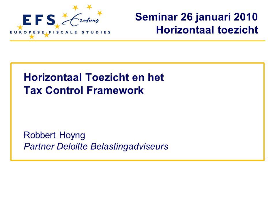 Horizontaal Toezicht en het Tax Control Framework
