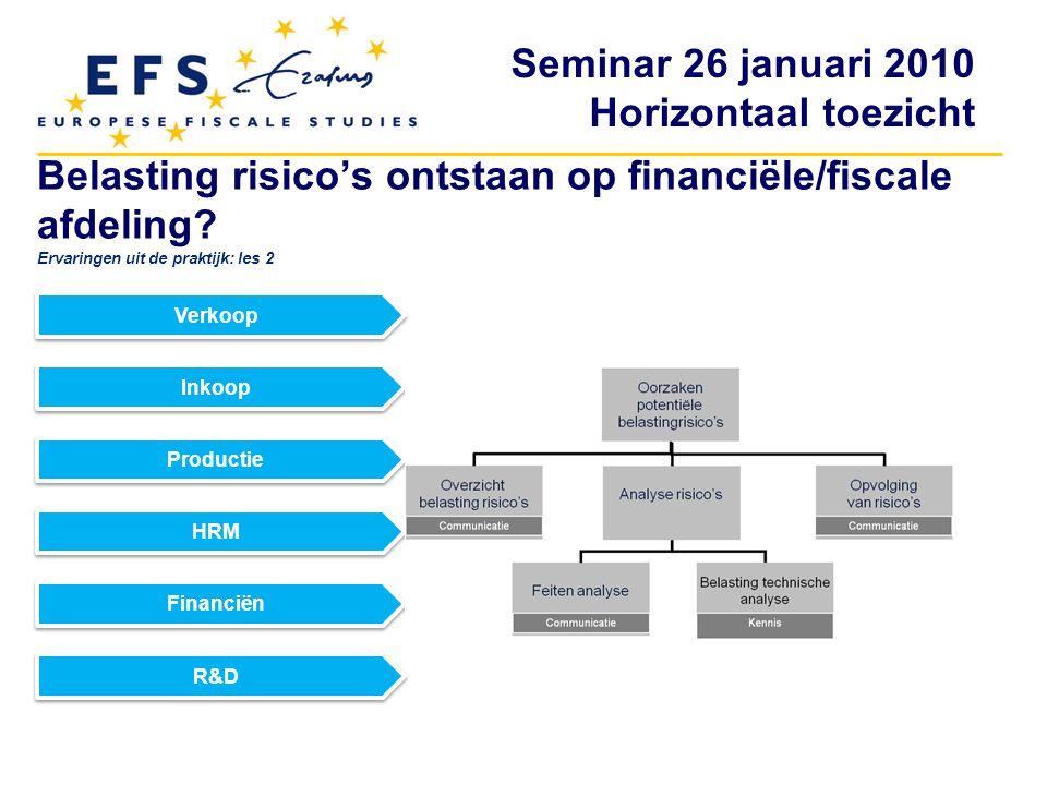 Belasting risico's ontstaan op financiële/fiscale afdeling