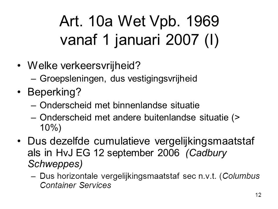 Art. 10a Wet Vpb. 1969 vanaf 1 januari 2007 (I)