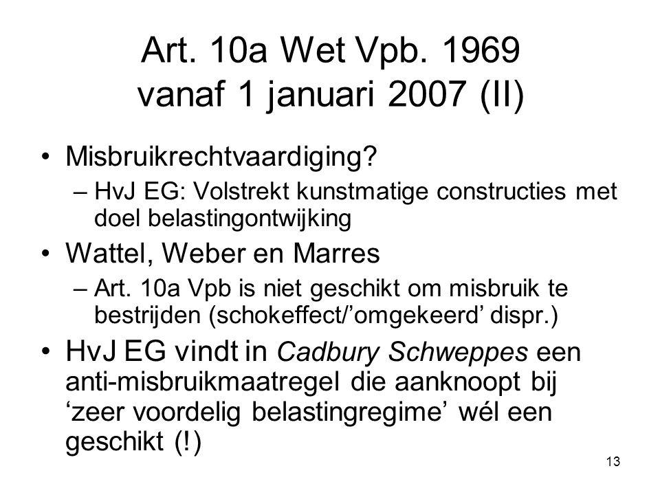 Art. 10a Wet Vpb. 1969 vanaf 1 januari 2007 (II)