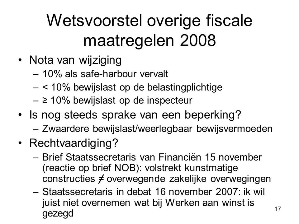 Wetsvoorstel overige fiscale maatregelen 2008