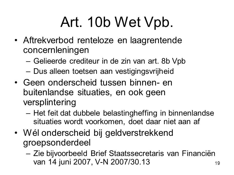 Art. 10b Wet Vpb. Aftrekverbod renteloze en laagrentende concernleningen. Gelieerde crediteur in de zin van art. 8b Vpb.