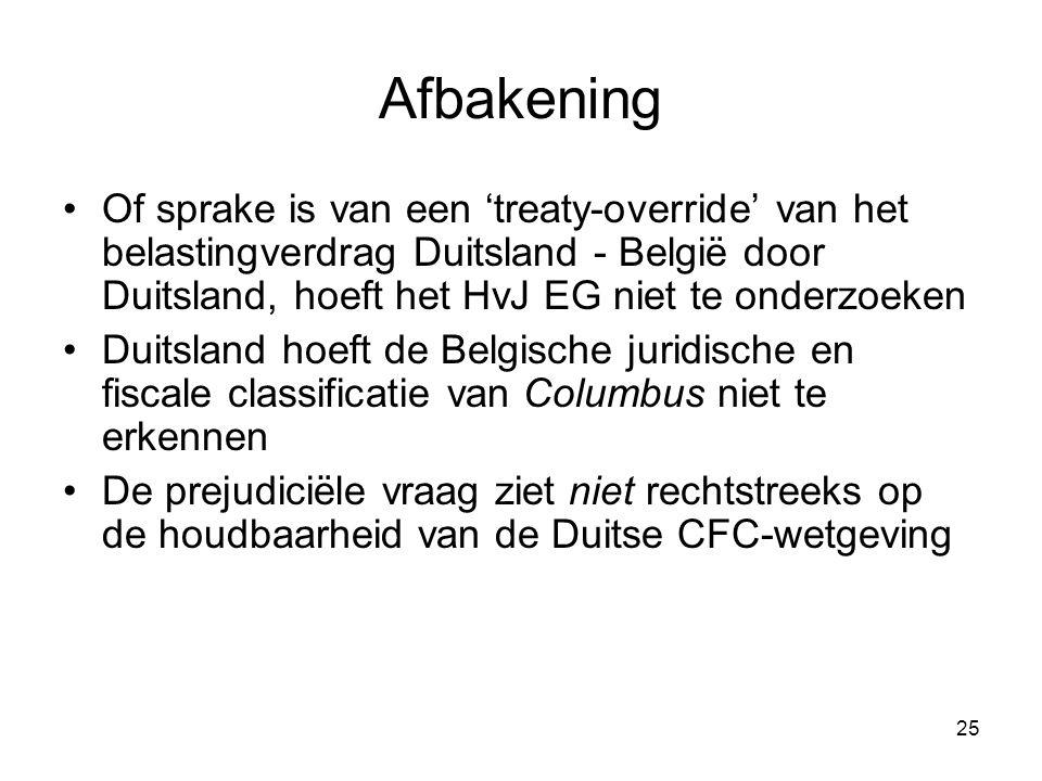 Afbakening Of sprake is van een 'treaty-override' van het belastingverdrag Duitsland - België door Duitsland, hoeft het HvJ EG niet te onderzoeken.