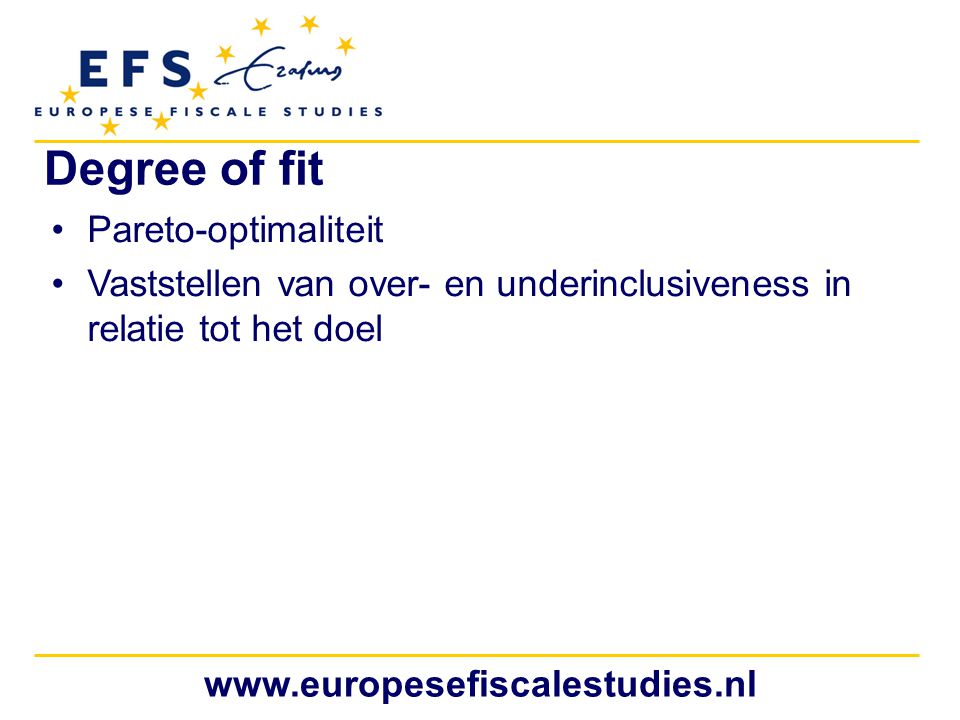 Degree of fit Pareto-optimaliteit