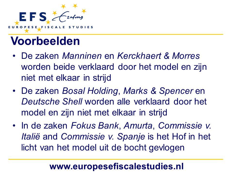 Voorbeelden De zaken Manninen en Kerckhaert & Morres worden beide verklaard door het model en zijn niet met elkaar in strijd.