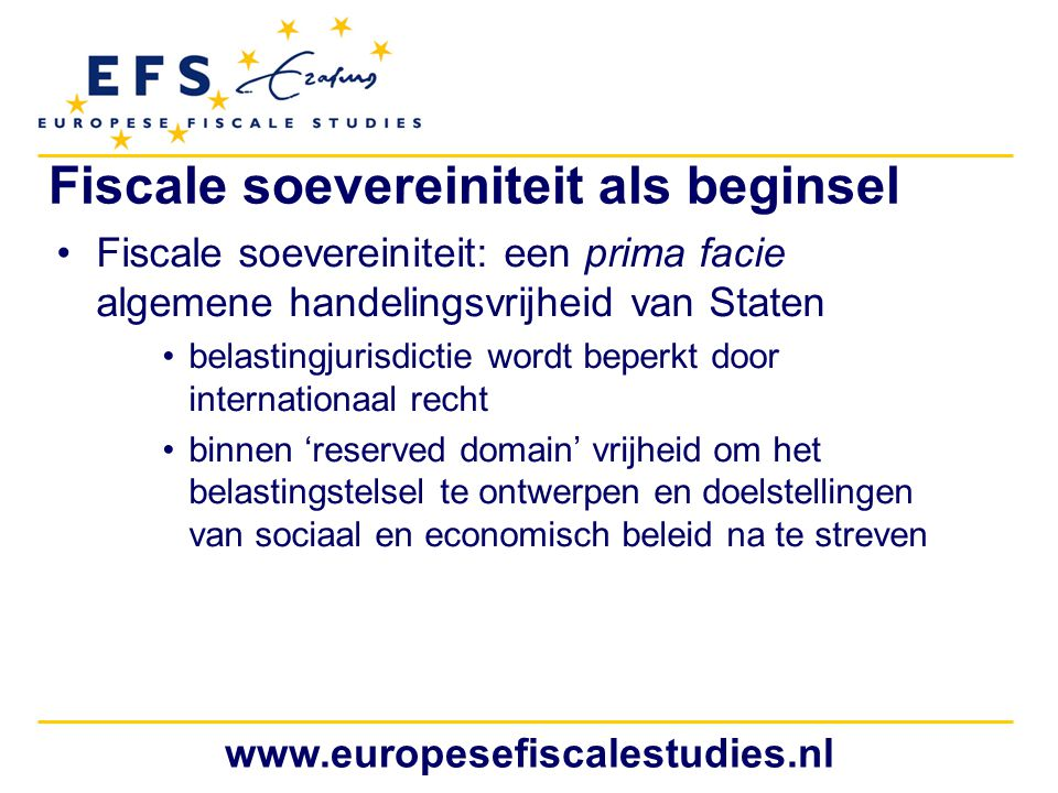 Fiscale soevereiniteit als beginsel