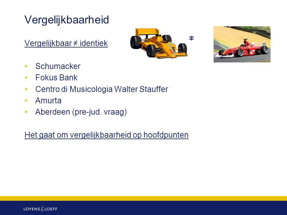 Vergelijkbaarheid ≠ Vergelijkbaar ≠ identiek Schumacker Fokus Bank