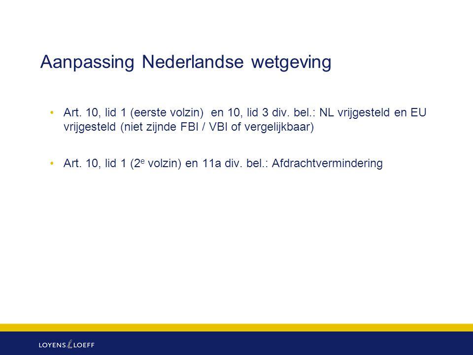 Aanpassing Nederlandse wetgeving