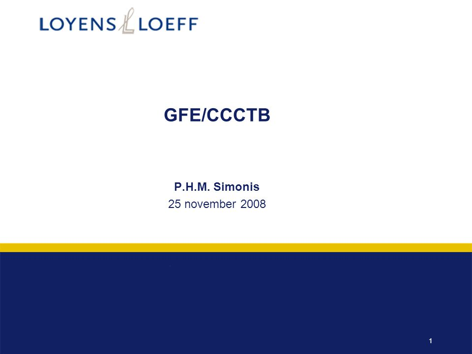 GFE/CCCTB P.H.M. Simonis 25 november 2008