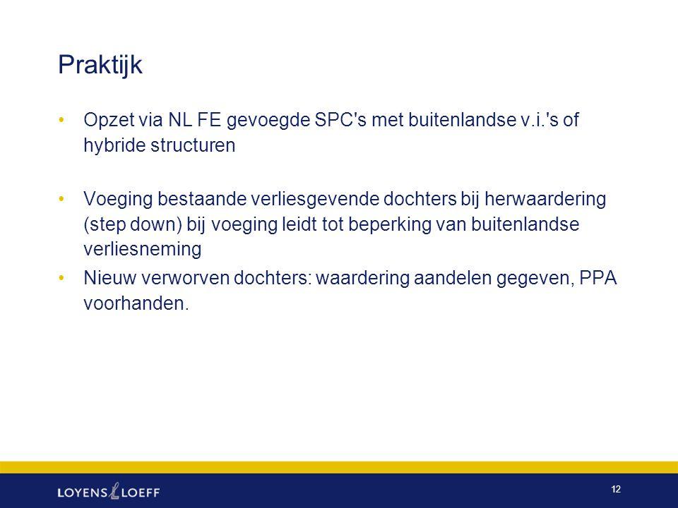 Praktijk Opzet via NL FE gevoegde SPC s met buitenlandse v.i. s of hybride structuren.